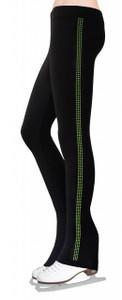 Skating Pants with Rhinestones Side Stripe - Lime