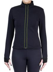 Fitted Skating Fleece Jacket with Rhinestones Stripe - Lime