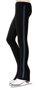 Skating Pants with Rhinestones Side Stripe - Light Blue