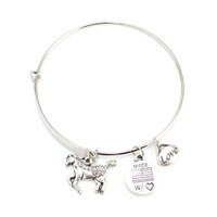"Ani Bangle Bracelet with Horse Charm , 7.75""  JBALEX-HORSE silver"