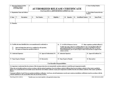 Form FAA 8130-3 - Authorized Release Certificate