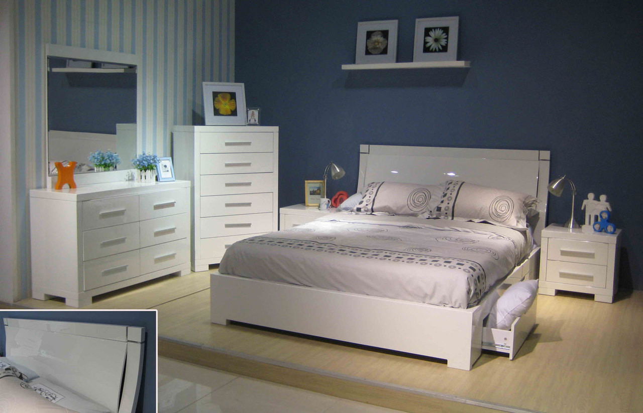 Prima queen 6 piece bedroom suite with underbed storage drawers be 963 high gloss white Queen bedroom sets with underbed storage