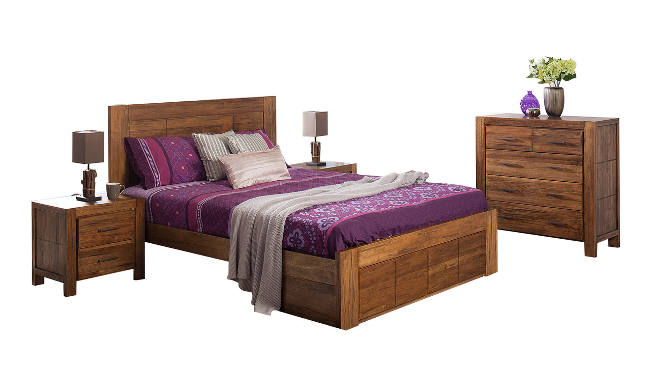Cuba king 4 piece tallboy bedroom suite with underbed storage drawers driftwood earth for King bedroom sets with underbed storage