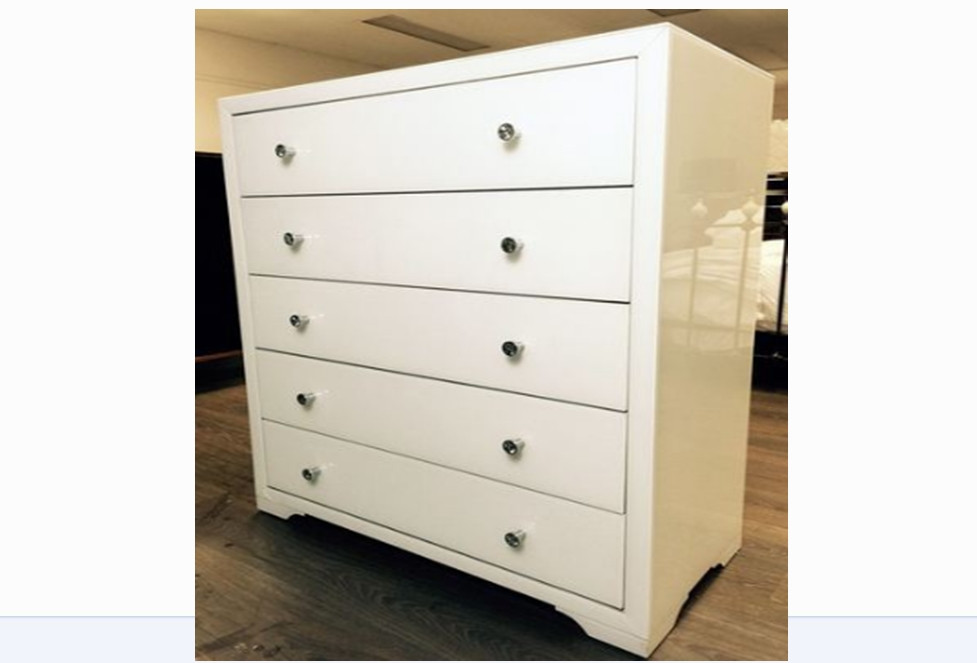 boulevarde white glass 5 drawer tallboy white