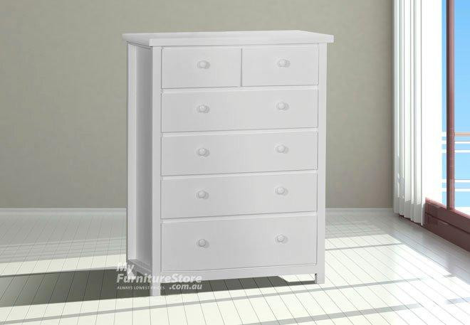 federation tallboy 6 drawer top split white