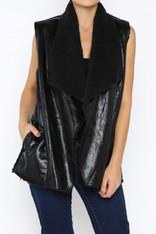 black shearling vest
