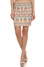 Beige Embroidered Skirt