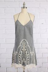 Chambray Dress with Crochet Trim