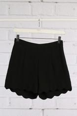 Black Scallop Hem Shorts