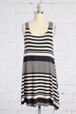 Navy Oatmeal Striped Dress