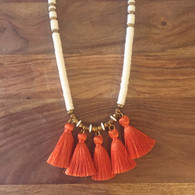 White with Four Burnt Orange Tassels Necklace
