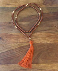 burnt orange tassel necklace