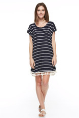 navy dress with tassels