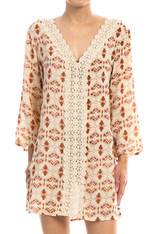 Cream Dress Burnt Orange Pattern