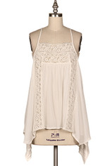 White Flowy Top with Crochet