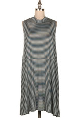 Sage Green and White Striped Tank Dress
