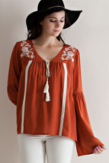 Burnt Orange Top White Embroidery
