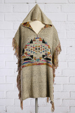 Hooded Poncho Frayed Hem