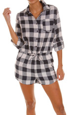 Navy White Plaid Romper