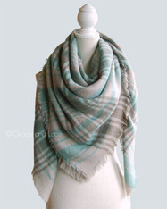 Mint and Grey Blanket Scarf