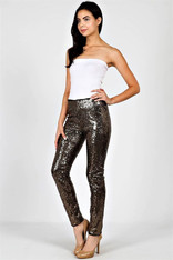 Black with Gold Sequin Leggings