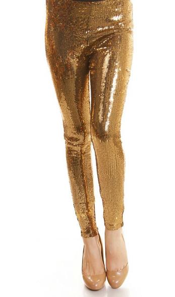 Gold Sequin Leggings at Austin Boutique