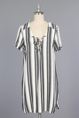 Striped Shift Dress Lace Up Front