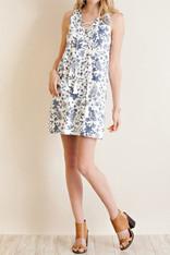 White Dress Denim Print