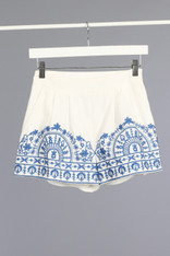 White Shorts Light Blue Embroidery