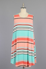 Pink Aqua Striped Dress