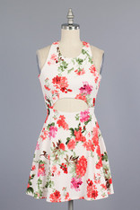Ivory Floral Print Dress Front Cut Out