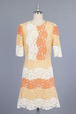 Orange and White Lace Dress