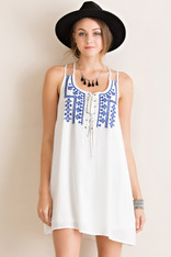 Lace Up Front Dress Blue Embroidery
