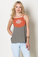 Black White Patterned Top with Burnt Orange