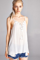 Ivory Lace Up Tank