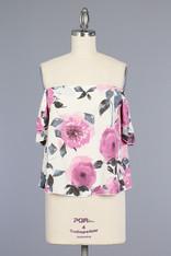 Ivory Floral Print Off the Shoulder Top