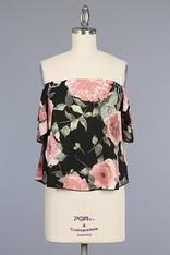 Black Floral Print Off the Shoulder Top
