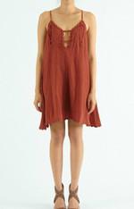 Rust Spaghetti Strap Dress