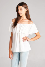 Off the Shoulder Top Solid White
