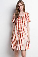 White Short Sleeve Dress with Burnt Orange Tie Dye