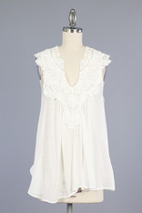 White Sleeveless Top with Crochet Detailing