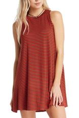 Rust Striped Tank Dress