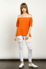 Off the Shoulder Top Burnt Orange