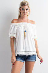 White Pom Pom Trim Off the Shoulder Top