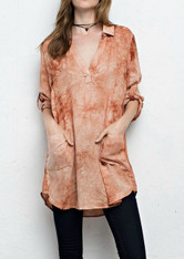 Burnt Orange White Tie Dye Tunic