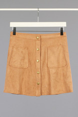 Camel Faux Suede Button Down Skirt