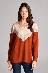 Burnt Orange Color Block Sweater