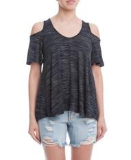 Charcoal Short Sleeve Open Shoulder Top