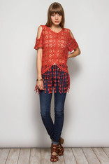 Burnt Orange Crochet Fringe Open Shoulder Top
