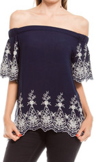 Navy Embroidered Off the Shoulder Top